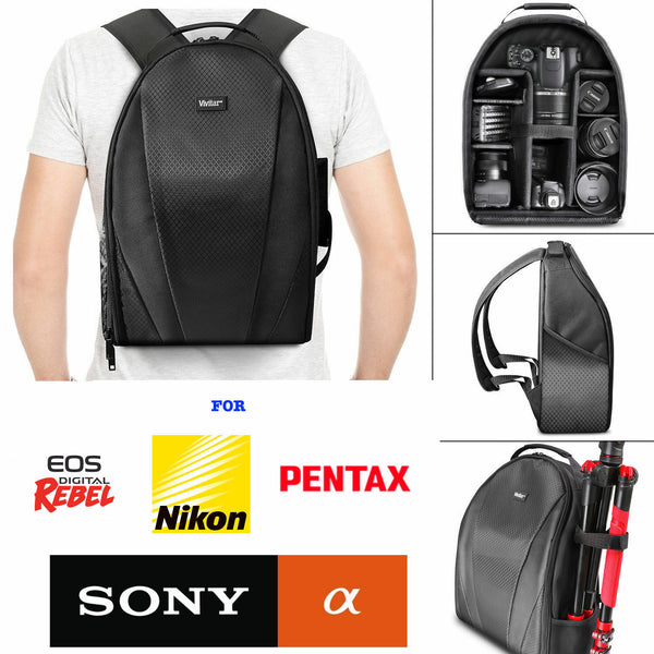 VIVITAR CAMERA BACKPACK BAG FITS DSLR & LENSES - Padded Case for Canon EOS REBEL