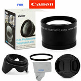 2X TELEPHOTO LENS +UV FILTER +HOOD + CAP FOR CANON EOS REBEL T3I T3 WITH 18-55MM