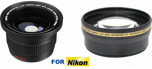 ULTRA WIDE FISHEYE LENS + 2.2X OPTICAL TELEPHOTO ZOOM LENS FOR NIKON D3100 D3200