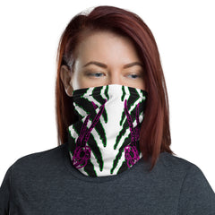 Horned Zebra Green Face Neck Mask - Attire T