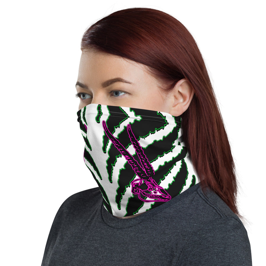 Horned Zebra Green Face Neck Mask