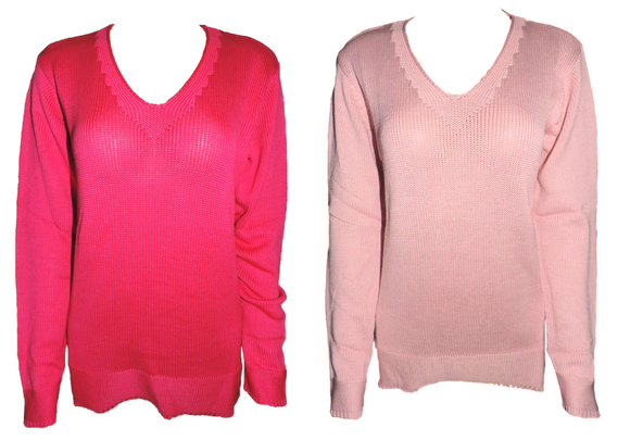 Capuccino Damen Pullover Langarm Pink Rosa Gr. 38