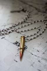 Gold .308 Love Bullet Necklace with Pearl Chain