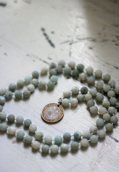 Euro Coin Pendant with Blue Amazonite Beads