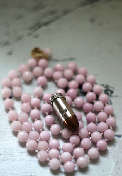 Pink Opal with Engraved Heart 45mm Love Bullet Pendant