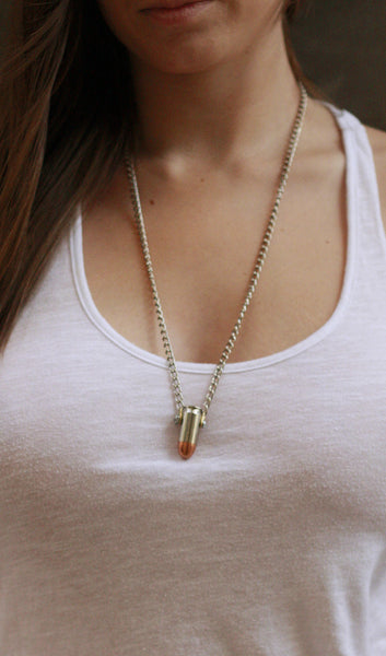 The silver .45mm Love Bullet on silver chain