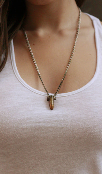The 9mm Love Bullet on a silver chain