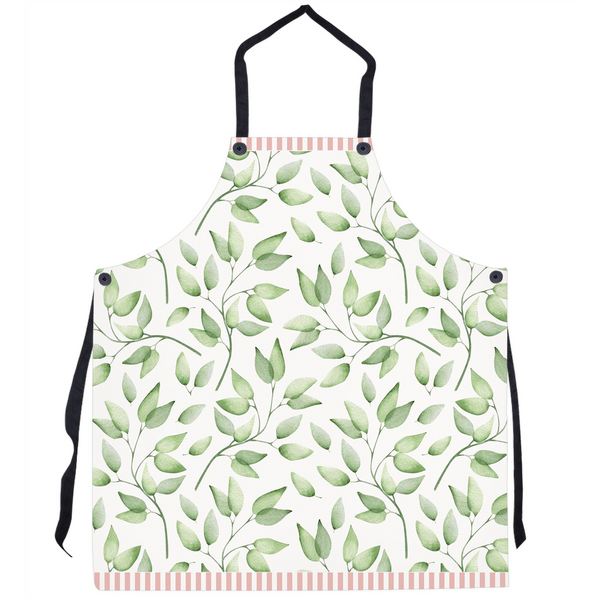 Vintage Green Leaf Pattern Apron