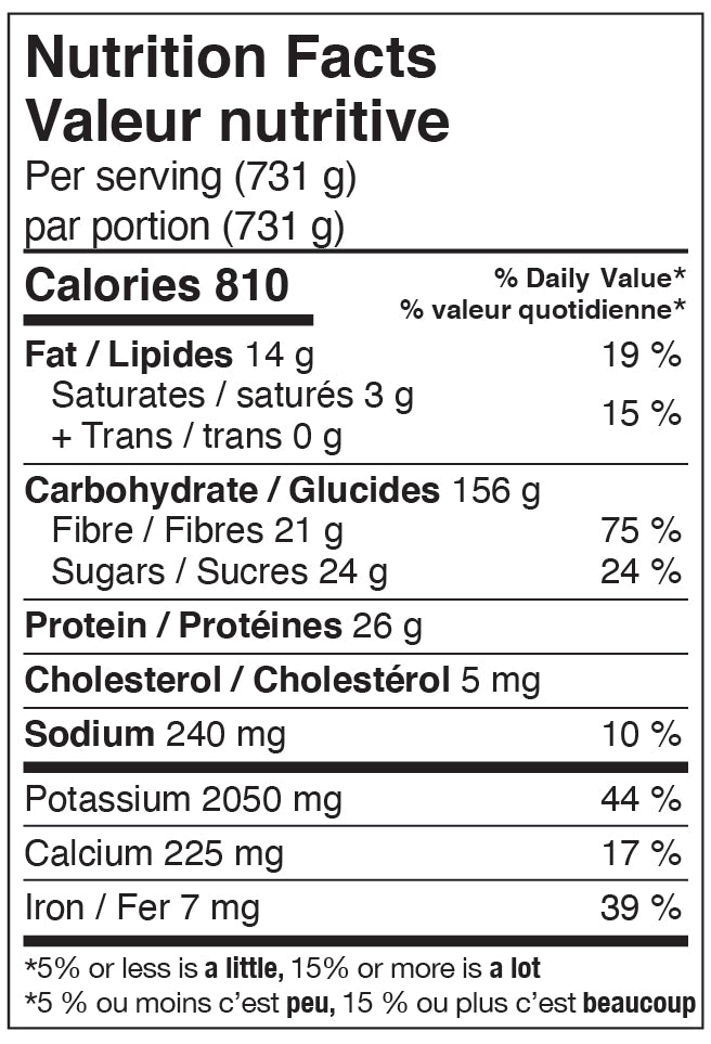 Nutritional Facts - Ancho Sweet Potato Bowl with Avocado and Creamy Salsa Verde