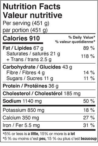 Nutrition Facts - Double Bruschetta Burgers with Old White Cheddar and Mixed Baby Greens