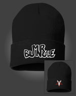 "Load image into Gallery viewer, MR BUNGLE ""LOGO BUNNY"" BLACK FOLDOVER BEANIE"
