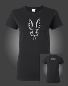 "MR BUNGLE ""SILVER BUNNY"" LADIES BLACK T-SHIRT"