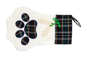 Stocking with Checkered  Paw - Dark Green
