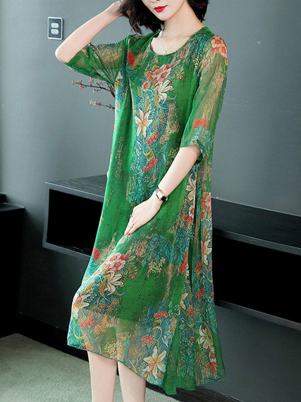 Casual Floral Printed Soft Midi Dress