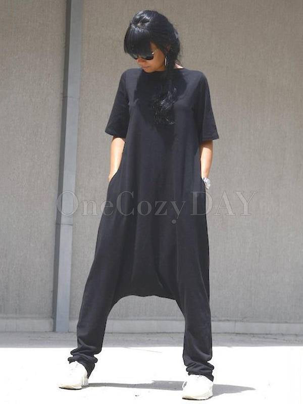 Simple Black Short Sleeves V-Neck Jumpsuits