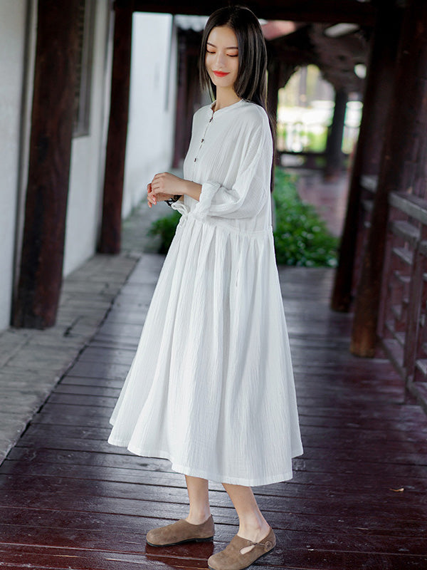 Retro National Double Cotton Long Sleeve Dress