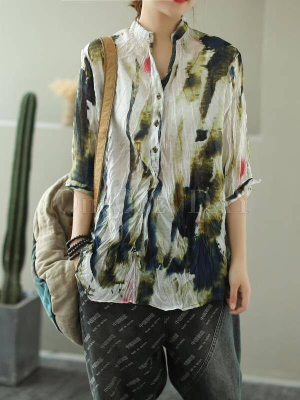 Vintage Printed Three-Quarter Sleeve Stand Collar Shirt
