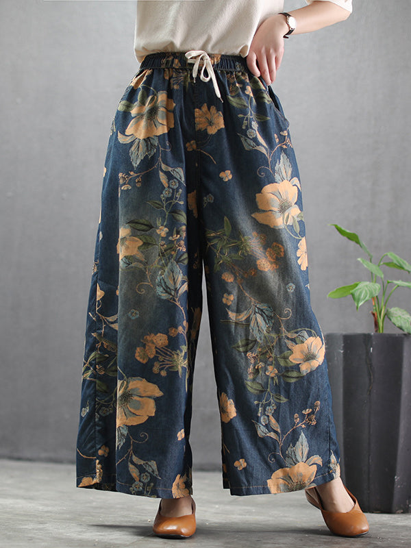 Flower Print High-waist Wide-leg Jean Pants