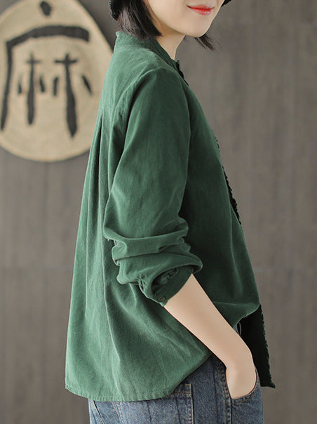 Corduroy Loose Fresh Solid Blouse Top