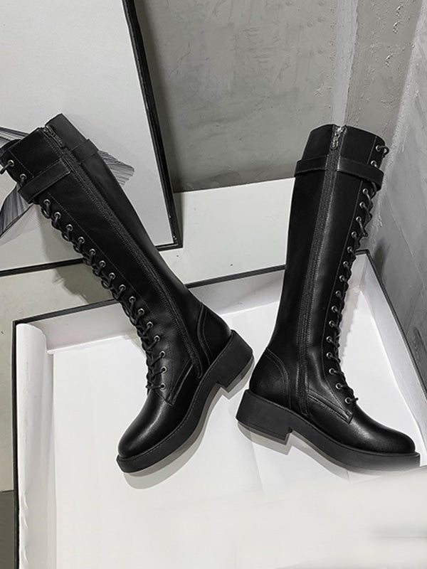 Casual Lace-Up Slim Black Long Boots