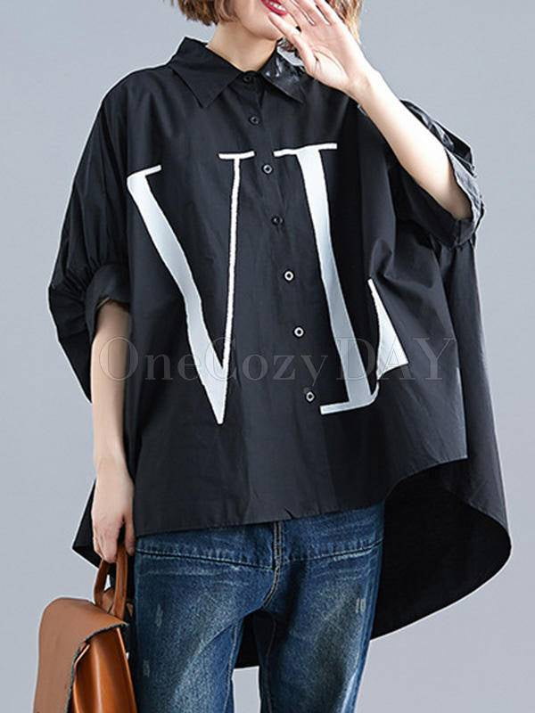 Loose Batwing Sleeves Print Cropped Shirt