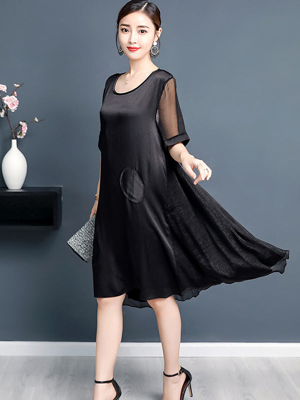Casual A-line Light Midi Dress