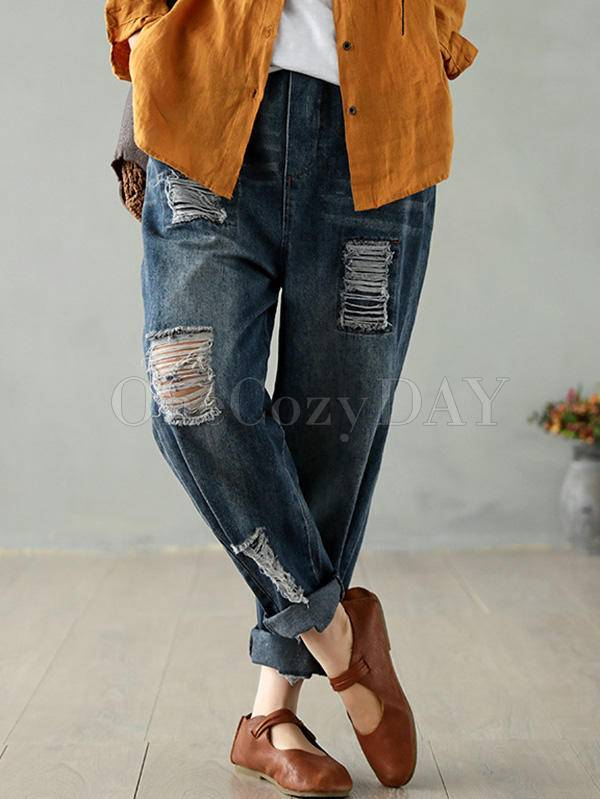 Vintage Fringed Hollow Jean Harem Pants