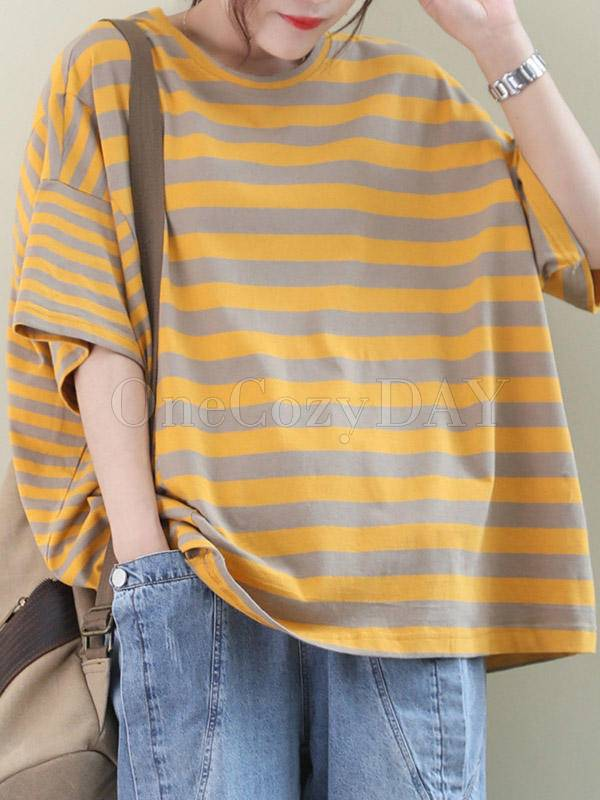 Loose Round Neck Striped Splicing T-Shirt