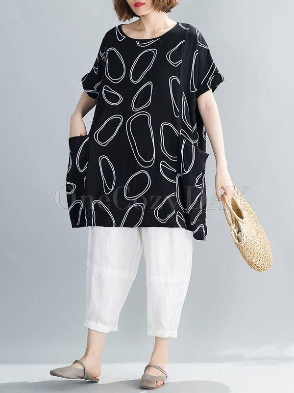 Loose Printed Round Neck T-Shirt