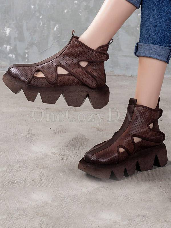 Vintage Hole Muffin Heel Solid Sandals