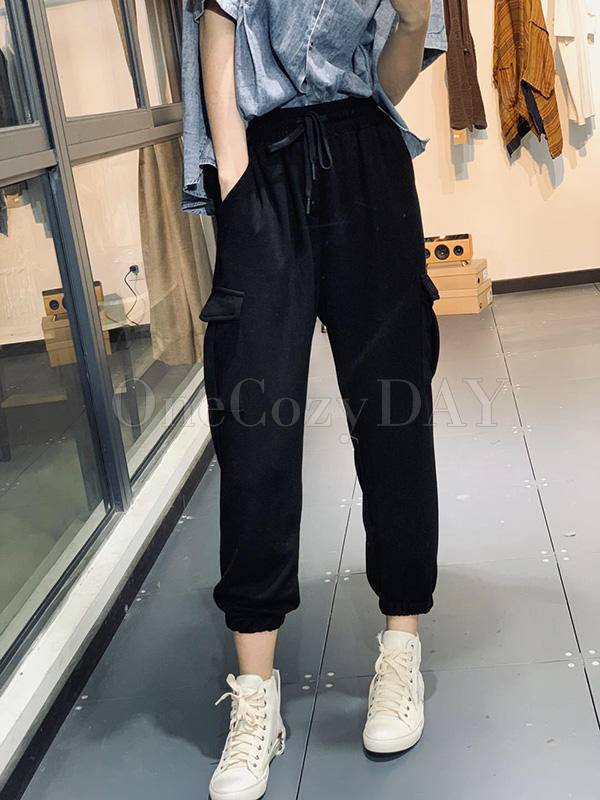 Loose Black&Gray Tied Casual Pants