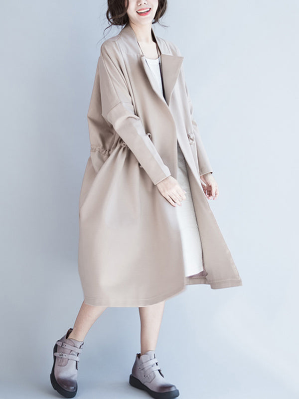Casual Drawstring Long Coat