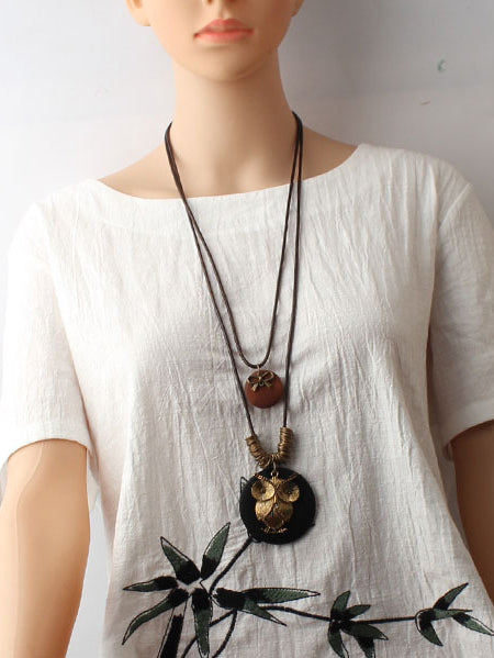 National Owl Alloy Wood Vintage Necklace