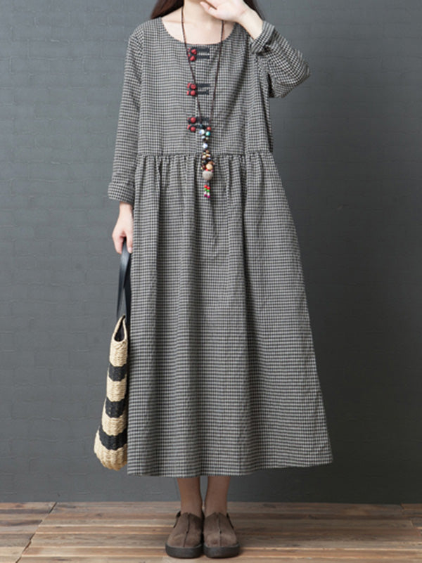 Cute Naional Plaid Red Button Long Dress
