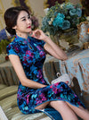 Blue Flower&Leaves Long Cheongsam Dress