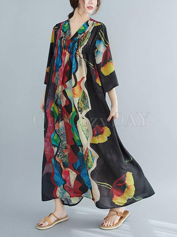 Loose Abstract Printed V-Neck Dress