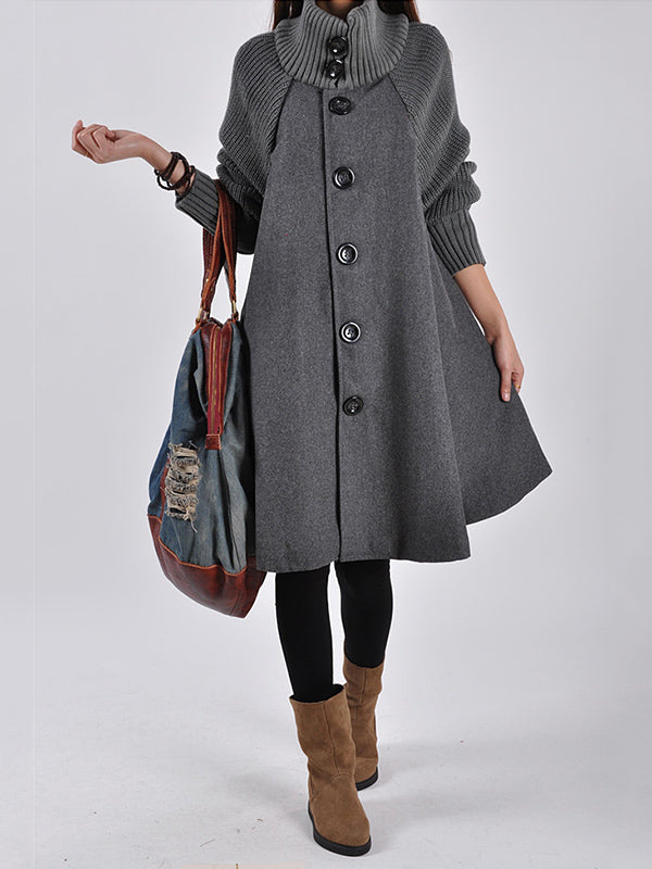 Casual A-line High-neck Cape Coat