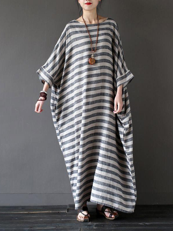 Vintage Loose Striped Dress
