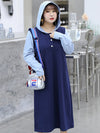 Casual Hooded Split-joint Long Dress