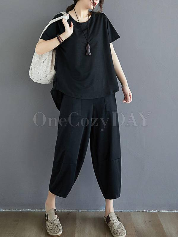 Original Cropped Tops Wide Leg Pants Two Piece Suits