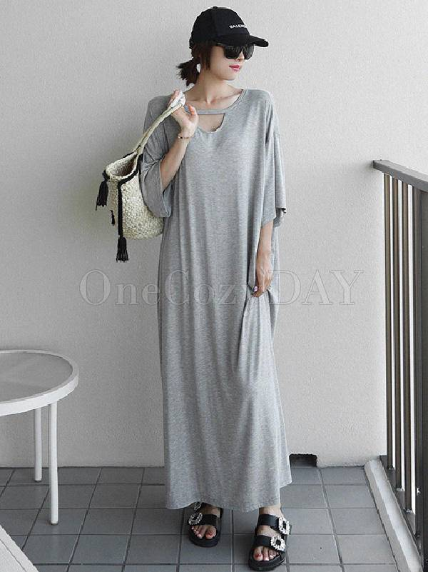 Loose Urban Gray Hollow Maxi Dress