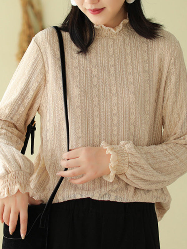 Lace Stand Collar Velvet Long Sleeve T-Shirt