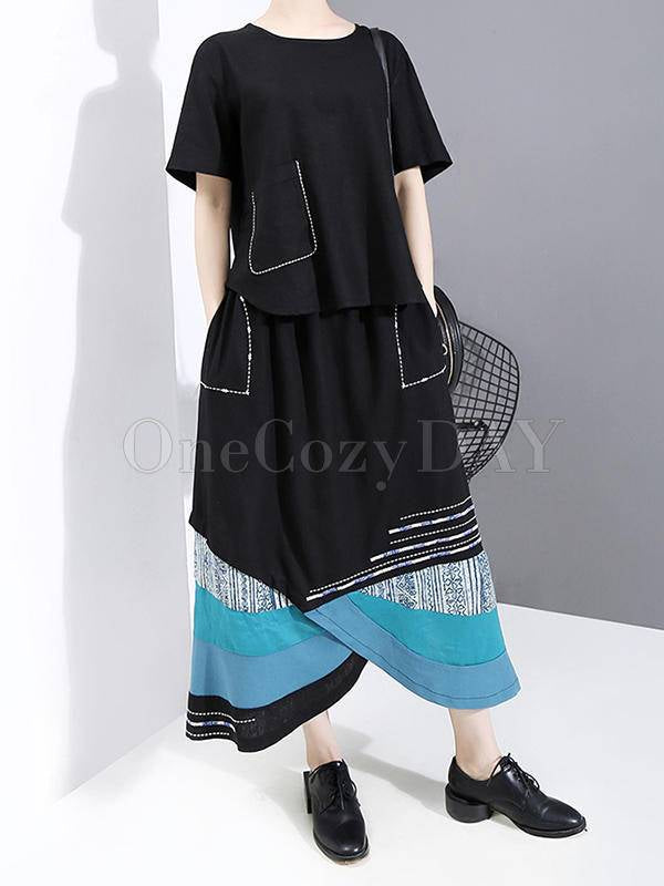 Loose Split-Joint Shirt&Skirts Suits