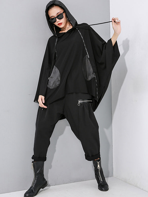 Loose Cropped Hooded Batting Hoodies