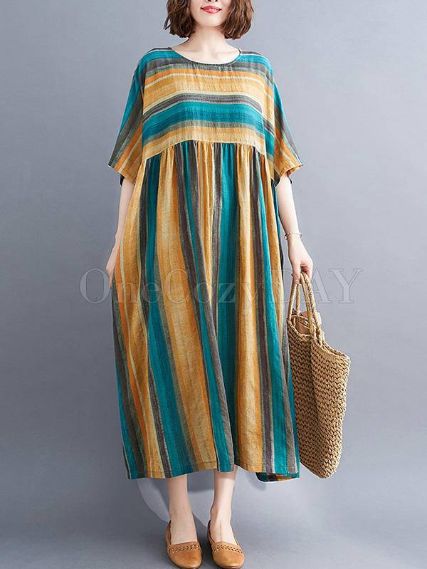 Vintage Striped Split-Joint Round-Neck Dress