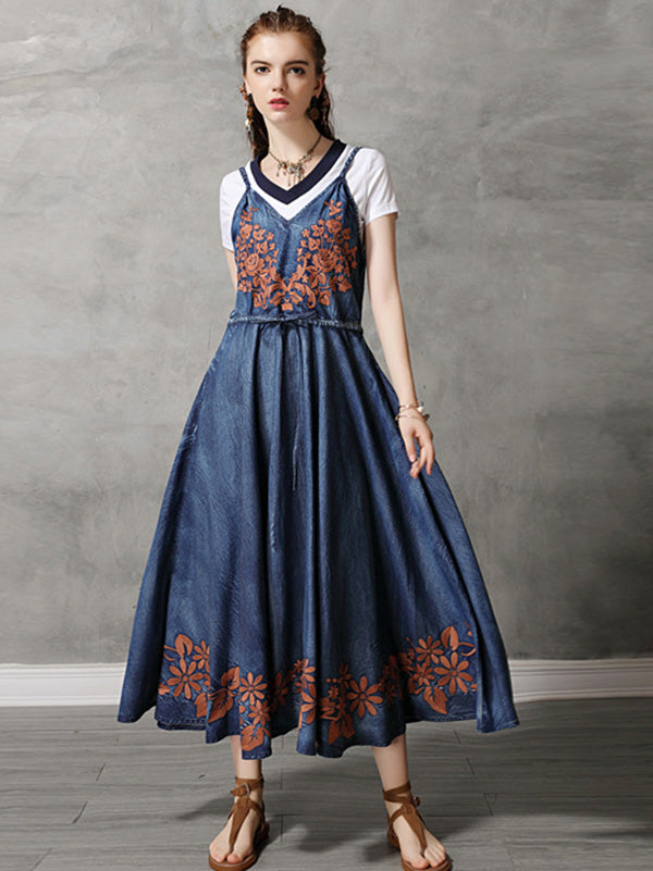 Vintage Embroidery Braces Dress