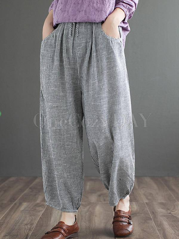 Original Striped Column Wide Leg Pants