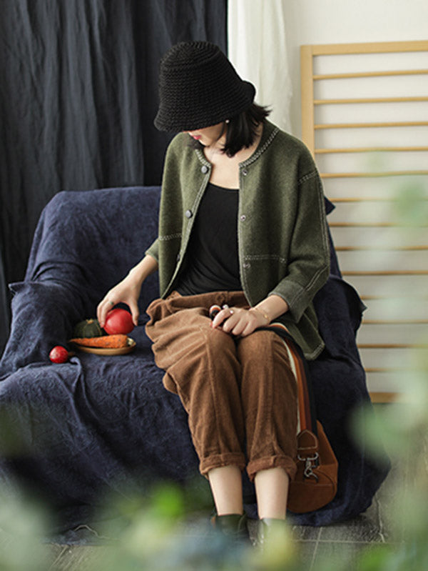 Split-Joint Round Neck Velvet Knitting Coat