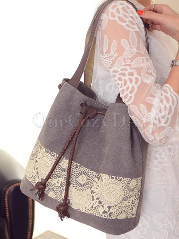 Ethnic Style Printed Canvas Drawstring Bucket Bag
