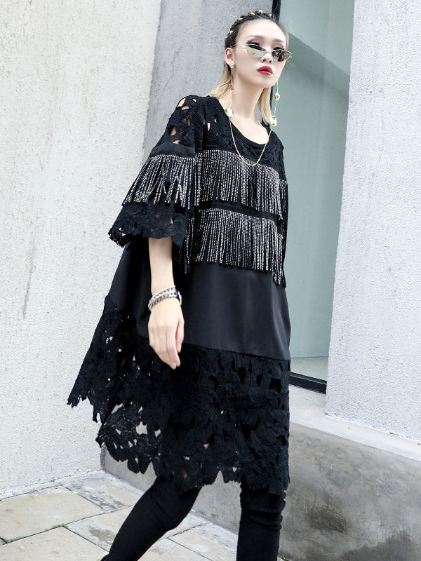 Lace&Tassel Split-joint Long T-shirt